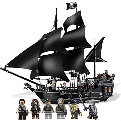 N-A Pearl Ship Queen Anne's Revenge Pirates Caribbean Bricks Compatible Lepining Pirates Barco Barco Modelo Building Toy Ver.1 Negro