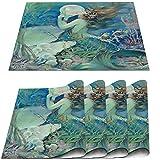 COFEIYISI Manteles Individuales Juego de 4,Nouveau Mermaid con Pearl Pin Up SHO Salvamanteles Resistentes al Calor Lavables Vinilo PVC para la Mesa de Comedor de Cocina 30x45cm