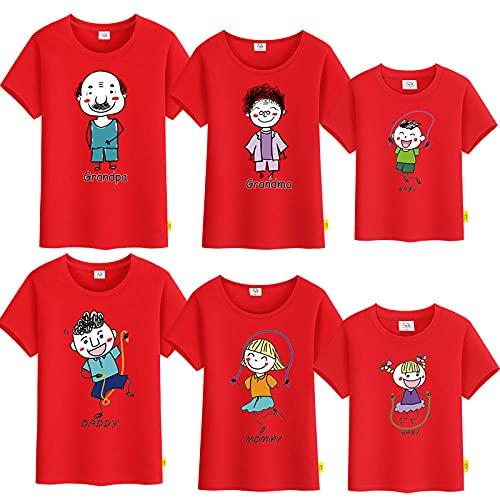 SANDA T-Shirt De Hombre,Vestido de Verano para Padres y niños, una Camiseta de Manga Corta de Cinco a Seis Abuelas Abuela, Toda la Familia bendice a la Familia-Rojo_Chico 80