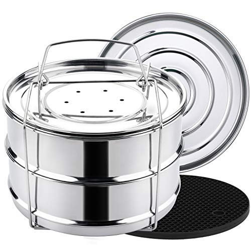 Aozita Stapelbare Dampfgarer-Einsatzpfannen – Zubehör für Instant Pot Mini 3 qt – Topf im Topf, Backen, Aufläufe, Lasagnepfannen, Lebensmitteldampfer für Schnellkochtopf, Upgrade austauschbare Deckel