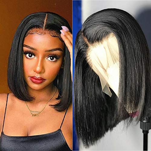 Human Hair Lace Front Wigs Bob Wigs for Black Women Bob Lace Front Wigs Human Hair 13X4x1 T Part Lace Wigs Pre Plucked Natural Hairline 12 Inch