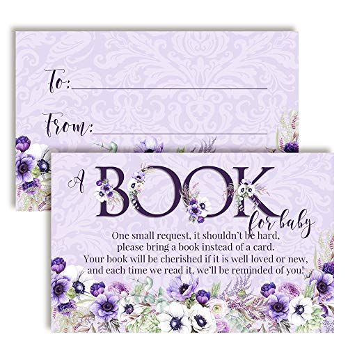 "Watercolor Violet Floral ""Bring A Book"" Cards for Baby Showers, 20 2.5' X 4"" Double Sided Insert Cards by AmandaCreation, Invite Guests to Bring A Book for The New Arrival!"