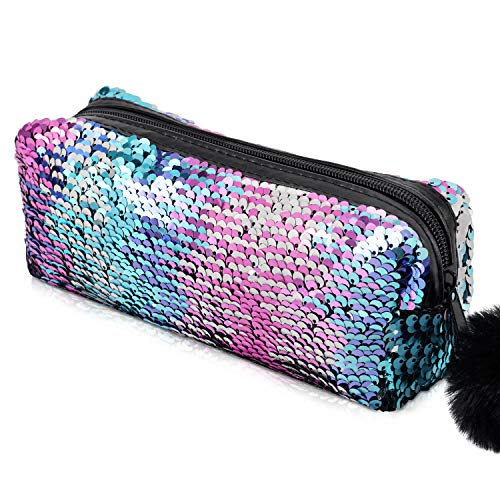 Paillettes a Sirena Astuccio per le Ragazze (colore reversibile), Borsetta per Trucco Cosmetico Glitter per Donna con Chiusura a zip Pompon (rosa blu mescolata con argento)