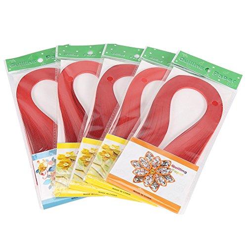 Akozon 600 Streifen DIY Quilling Papier 3mm Breite Reine Farbe Origami Papier Hand Handwerk Dekoration(Rot)