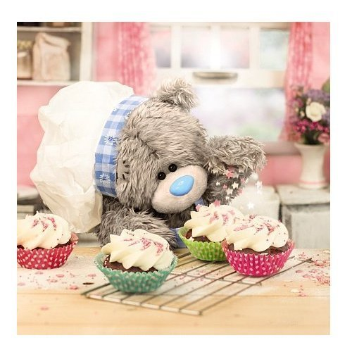Me to You Tatty Teddy 3D Holographic Card - Bear and Cupcakes