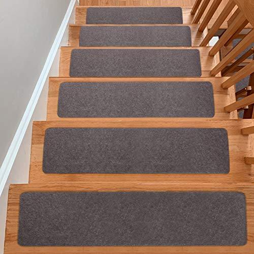 UNIQUEBELLA Treppenstufen Matten Teppich 15 Stück/Set, (dunkelgrau)