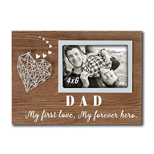 Buecasa Dad Gifts from Daughter and Son - Heart String Father Picture Frames 4x6 Inches - Dad My First Love My Forever Hero