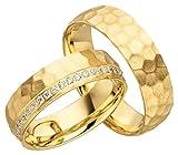 JC Trauringe 925er Sterling Silber Paarpreis I Eheringe mit kostenloser Gravur I Verlobungsringe Gold Plattiert 6 mm breit im Etui I Herren-Ring ohne & Damen-Ring mit Steinen I Gr. 48 bis 72 I JC017
