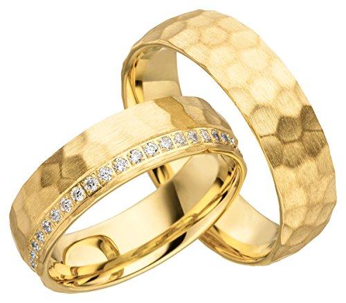 2x 585 Gold Eheringe Partnerringe Trauringe Hochzeitsringe in Gelbgold gehämmert*mit Gravur und Steinen* JC017