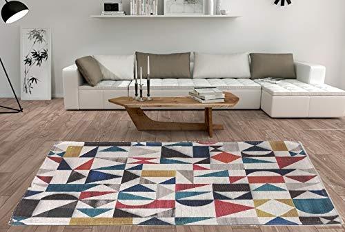 De'Carpet Alfombra Salón Dormitorio Moderna Algodón Lavable Estampada Abstracta (60x110cm)