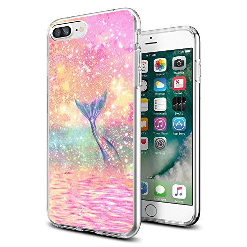 Cocomong for iPhone 7 Plus iPhone 8 Plus Case Cute Shining Mermaid Scale Clear Design Potective Soft TPU Ultra Thin Phone Cover for Girls Women Shockproof Bumper Anti-Drop-Scratch
