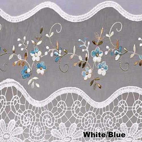 Todays Curtains Vintage Sheer Embroidered Organza Collection with Macrame Trim (White/Blue, 58W x 38L Swag Valance)