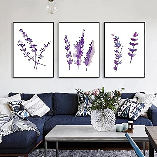 Acuarela Provenza Lavanda Póster Flores Arte de la pared Impresión de lienzo nórdico Cuadro minimalista Decoración de la sala de estar Sin marco-50x70cmx3