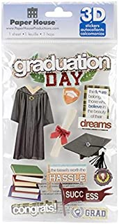 Paper House Productions STDM-0189E 3D Cardstock Stickers, Graduation Day (3-Pack)