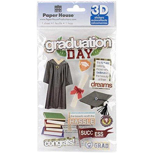 Paper House Productions Graduation Day 3D Stickers , Multi-Colour, PHSTDM-0189E, 22.4 x 12 x 0.5 cm