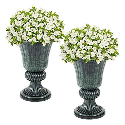 Greenfields Lot de 2 Pots de Fleurs en Plastique pour intérieur et extérieur - Couleurs Disponibles - Résistant aux intempéries et Parfait pour Une Utilisation en intérieur et en extérieur. Vert