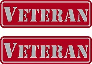 2 - Veteran, Red on reflective, Hard Hat, Tool Box, Lunch Box, Helmet Stickers .675