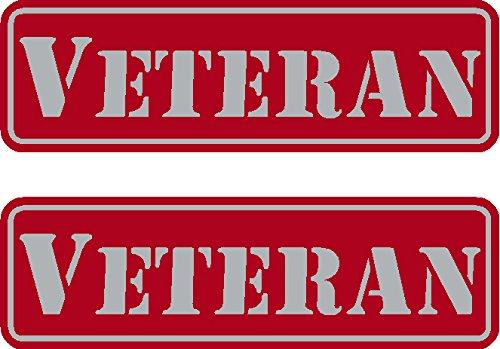 "2 - Veteran, Red on reflective, Hard Hat, Tool Box, Lunch Box, Helmet Stickers .675"" x 2.21"""