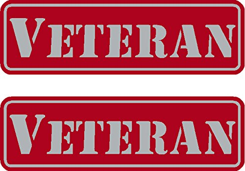 "2 - Veteran, Red on reflective, Hard Hat, Tool Box, Lunch Box, Helmet Stickers .675"" x 2.21"""