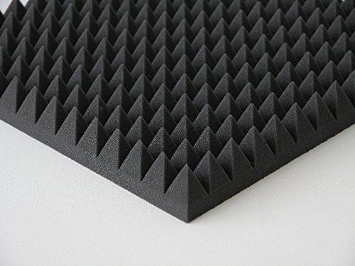Pyramiden Schaumstoff Akustik Dämmung Noppenschaum Mit oder Ohne Selbstklebend (6 cm/mit Selbstklebend, Anthratzit/Schwarz)