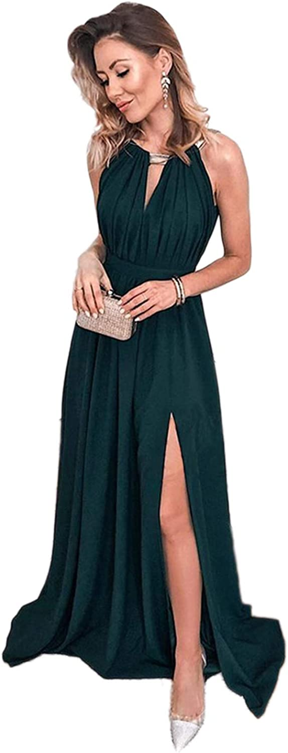 XJLY Women's Ruffle Prom Dresses Backless Evening Dresses with Split