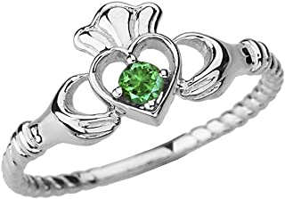 Dainty 14k White Gold Open Heart Solitaire Emerald Rope Claddagh Promise Ring