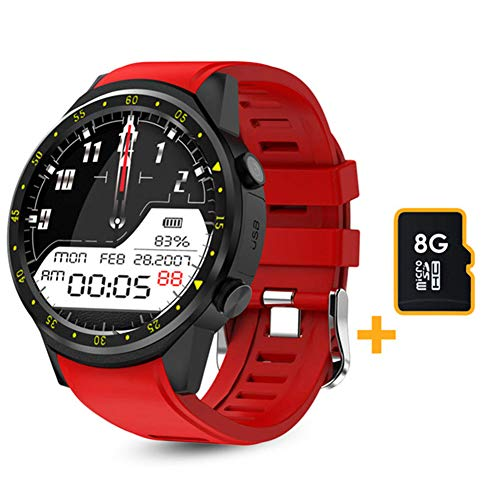 LSQ SmartWatch, F1 Smart Watch Men's GPS Reloj Rastreador de Ritmo cardíaco, Modo Multi-Sport 2020, con podómetro de Tarjeta SIM, Adecuado para Android iOS,B