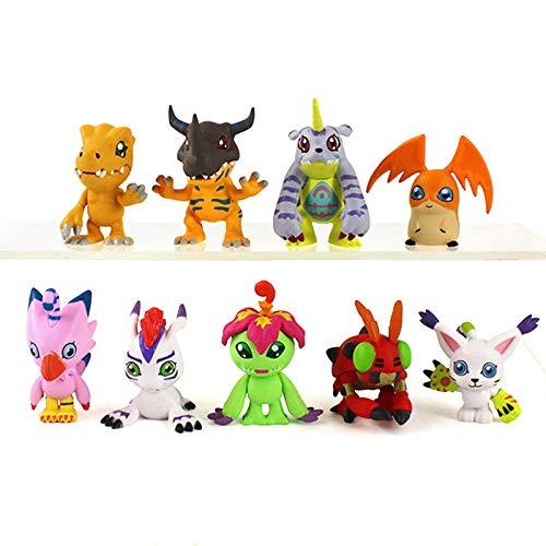 GSDGSD 9pcs 4cm Digimon Adventure Figures Greymon Agumon Gabumon Patamon Tailmon Gomamon Piyomon Palmon Tentomon Anime Model Toys