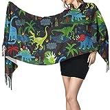 Bufanda de mantón Mujer Chales para, Dinosaurios y plantas Bufanda cálida de invierno para mujer Moda Bufandas largas y grandes de cachemira suave y envolvente