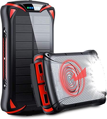 Aikove 10W Wireless Cargador Portátil, 30000mAh 18W Solar Energia Movil, Power Bank Móvil Portátil Batería Externa,QC 3.0 Paquete de Pilas Externo con 3 Entradas y 4 Salidas (Qi & USB C)