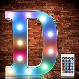 Luces de Símbolo de Número Letra Alfabeto LED Iluminado Colorido con Interruptor de Control Remoto Inalámbrico Lámpara Decorativa de Corazón para Boda San Valentín Navidad (Letra D)