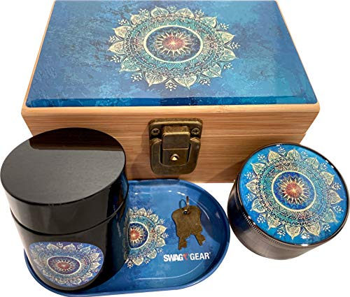 Blue Mandala Stash Box Combo - Grinder Stash Jar and Rolling Tray - Stash Box with Lock Locking Stash Box Stash Boxes (Blue Mandala)
