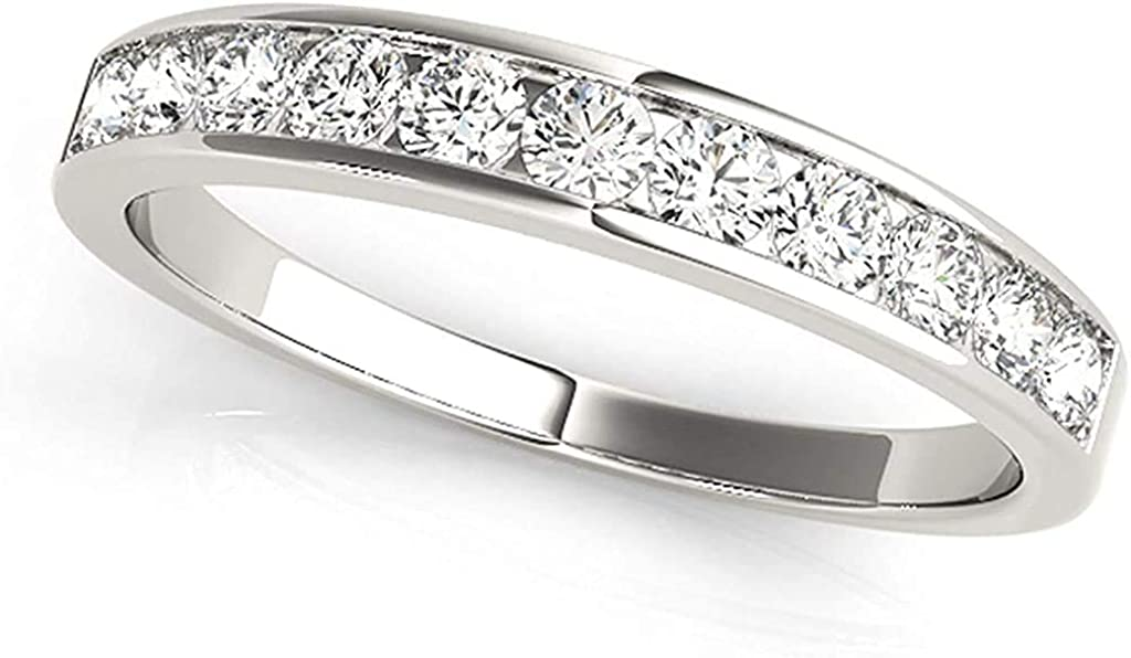 JewelMore 1 2ctw Diamond Channel Wedding Gold Cheap Choice mail order shopping White Band 10k in