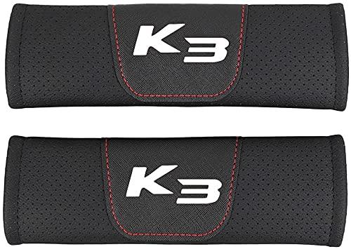 YYYYDS 2 Piezas Almohadillas CinturóN Seguridad para Kia K3,Fibra Carbono CinturóN Seguridad Almohadillas,Almohadilla Hombro del CinturóN Seguridad con Logo,Coche Accesorios