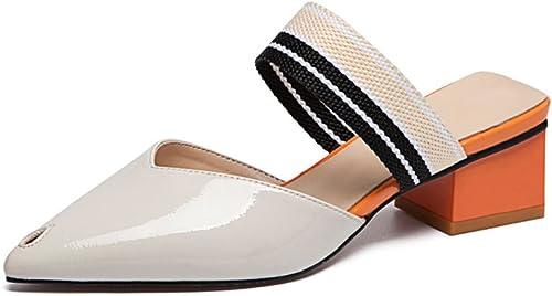 JIANXIN Pantoufles D'été Cool Femmes Fashion Wearing Tips Talons épais épais épais Mules Chaussures Demi-Pantoufles Sandales (Couleur   Blanc, Taille   EU 37 US 6 UK 4 JP 24cm) fbc