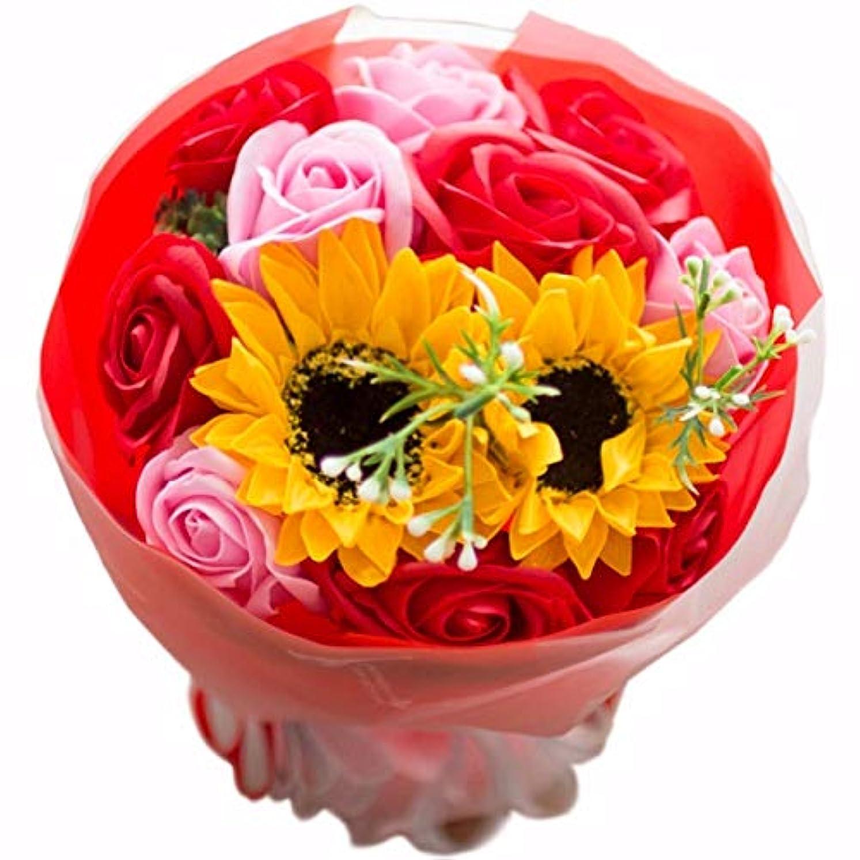 オプショナルネイティブタオルフレグランス ソープフラワー シャボンフラワー 夏にぴったり ひまわり&ローズ 花束 ブーケ FPP-808 (レッド)