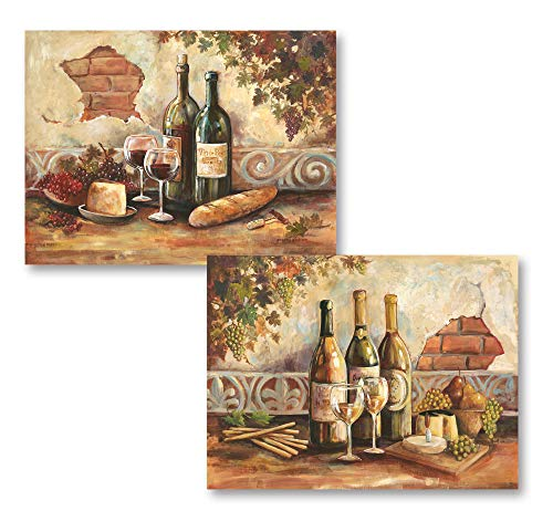 Gango Home Decor Bountiful Wine | Rustic Italian Wine Cheese Grapes Vineyard; Two 14x11in Poster Prints