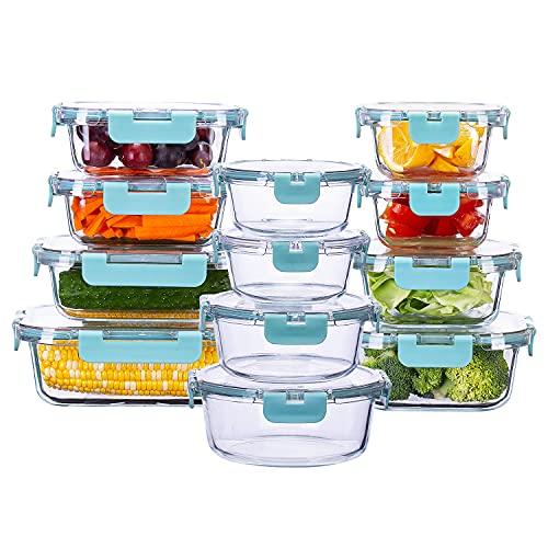 Cutiset Glas Frischhaltedose mit Deckel BPA-frei Vorratsdosen, Spülmaschinen- Mikrowellen- und Gefrierschrankgeeignet (12er Set)