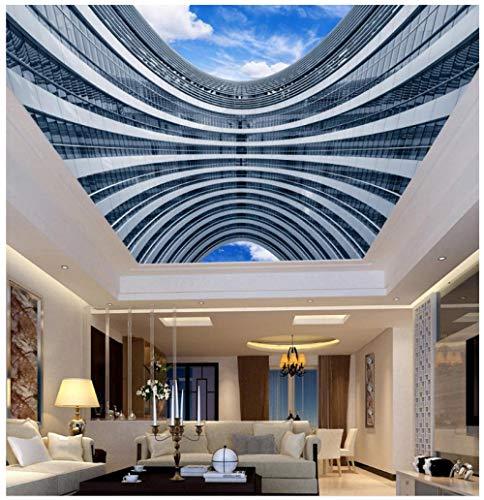 Muurfoto, 3D-achtergrond, personaliseerbaar, HD, creatief, moderne hemel blauw en witte wolken, plafondlamp, slaapkamer, woonkamer, wanddecoratie 250(w)x175(H)cm
