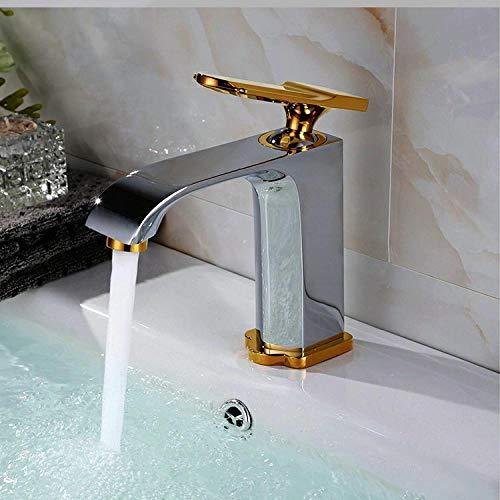 WANDOM Baño grifo de lavabo de cobre completo bañado en oro monomando monomando lavabo de un solo orificio grifo de agua fría y caliente cromado y dorado corto