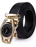 Dubulle Designer Men Ratchet Belts Fashion Leather Gold Watch Autoamtic Buckle Adjustable Click Sliding Belts for Casual Wedding Box