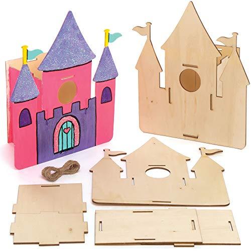 Baker Ross AT996 Schloß Vogelhaus Holz Bastelset - 2er Pack, Nistkästen für Vögel zum Bemalen und Basteln für Kinder