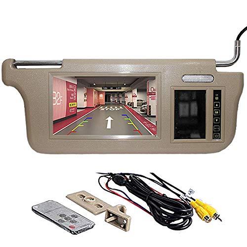 GGTFA Passenger Side Sunvisor Rear View Mirror Monitor Sun Visor 2 Video Input for Car Camera GPS TV DVD Beige