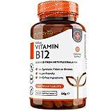 Comprimidos de vitamina B12 500 mcg - 365 comrpimidos veganos (suministro para 1 año) - Suplemento de metilcobalamina B12 - Sistema inmunológico, función cerebral y apoyo energético - Por Nutravita