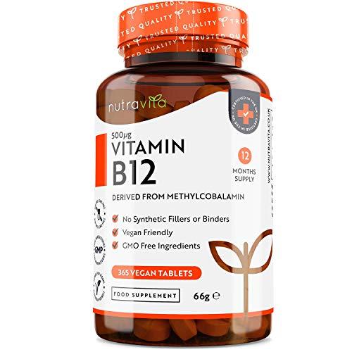 Tabletas de vitamina B12 500 mcg - 365 tabletas vegan - Suplemento de metilcobalamina B12 - Sistema inmunológico, función cerebral y apoyo energético - para hombres y mujeres - Fabricado por Nutravita