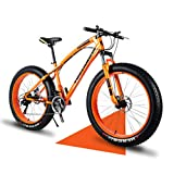 Wind Greeting 26' Bicicletas de Montaña,24 Velocidad Bikes de Nieve,Bicicleta de Montaña para Adultos Fat Tire,Marco de Acero de Alto Carbono Doble Suspensión Completa Doble Freno de Disco (Naranja)