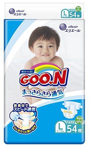 GOO.N Japanische Baby Windeln für Kleinkinder Größe L (9-14 kg) 54 Stück Ultraweiche Superdünne Atmungsaktive Hochsaugfähige Windeln Größe 4