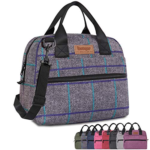 Buringer Insulated Lunch Bag Box Cooler Totes Handbag with Pockets and Removable Adjustable Shoulder Strap For Man Woman Work Shopping (Gray Plaid with Shoulder Strap)