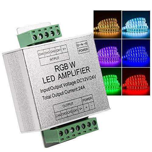 RGBW Verstärker DC12-24V 24A 4 Kanal Ausgangsschaltung Aluminium Shell LED Streifen Controller Datensignalverstärker