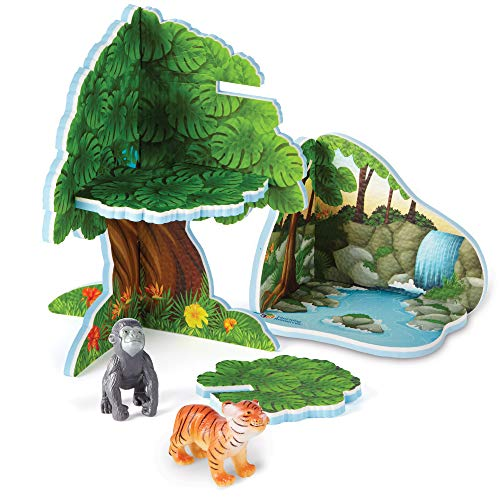 Learning Resources Jumbo Jungle Playset  Jungle Animals  Animal Toys  Animal Set for Kids  9 Pieces  Ages 3+